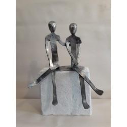 sculpture en étain couple...