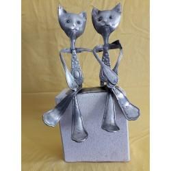 chat couple sur socle