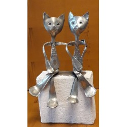 sculpture en étain chat...