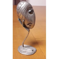 sculpture en étain visage...
