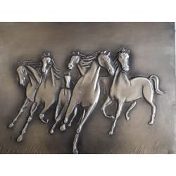 Tableau en étain chevaux de...