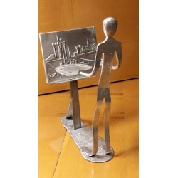 sculpture en métal peintre