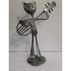 sculpture en métal Chat banjo